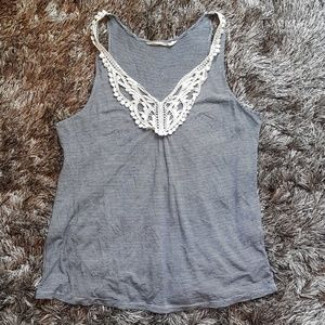 navy and white striped tank lace applique